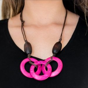 Pink and Brown Wooden Sliding Knot Necklace Set